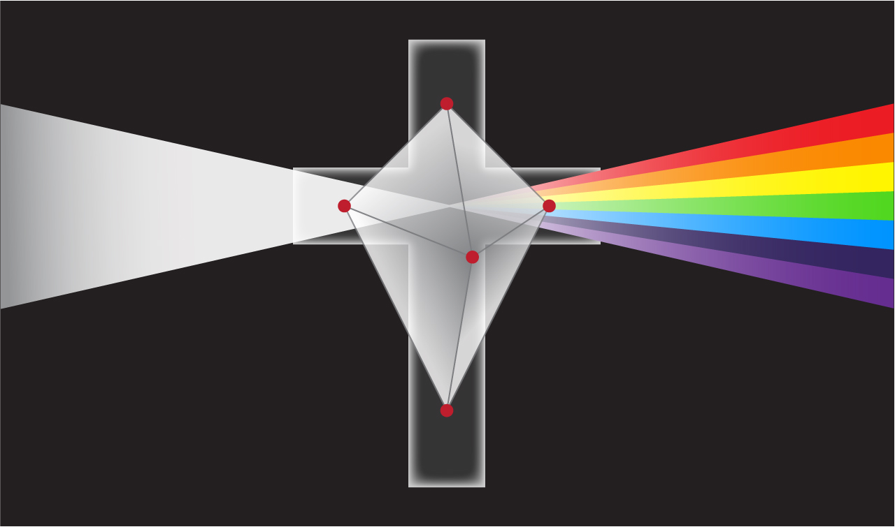 Cross and prism with incident white light and emerging spectrum